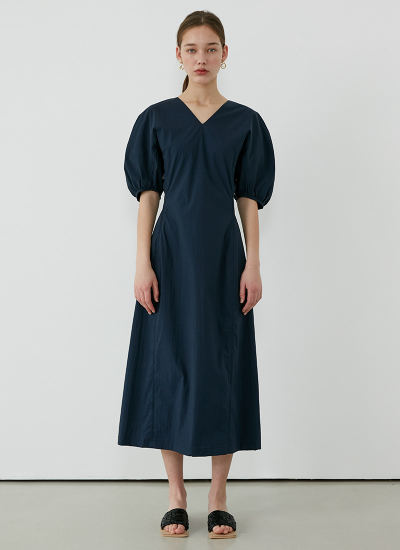 VOLUME SLEEVE DRESS - NAVY