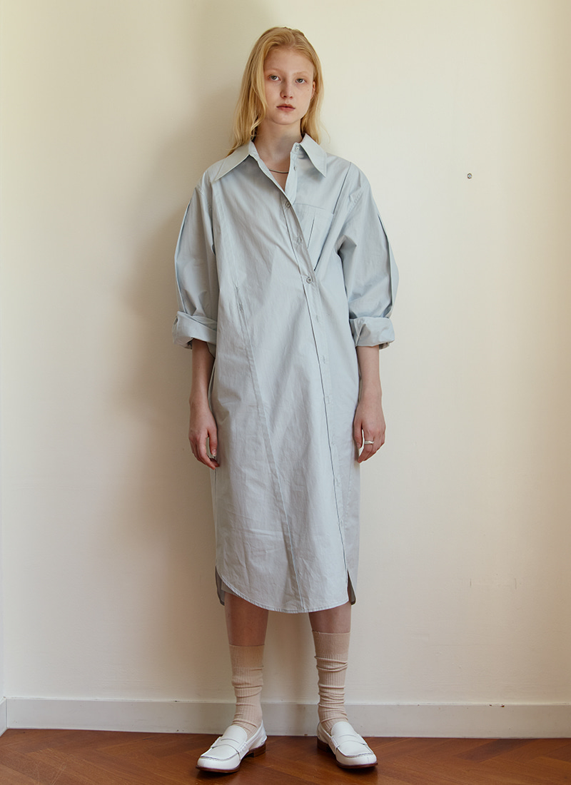 BUTTON POINT SHIRT DRESS - SKYBLUE