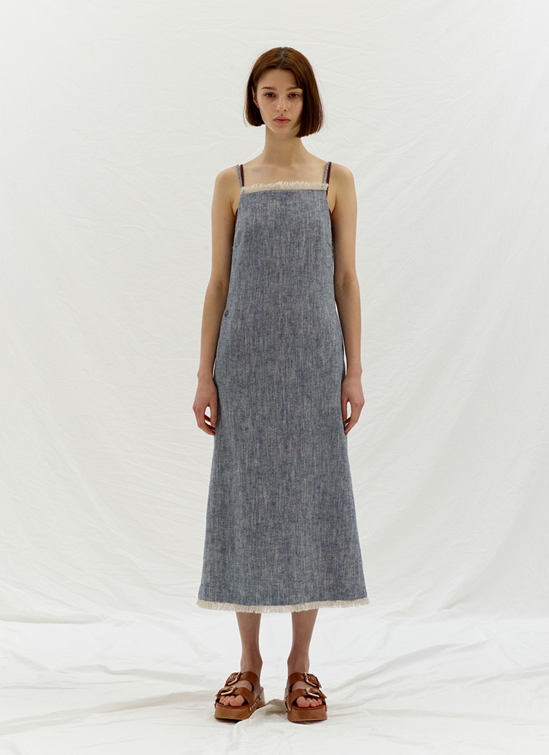 LINEN SLIP DRESS - BLUE