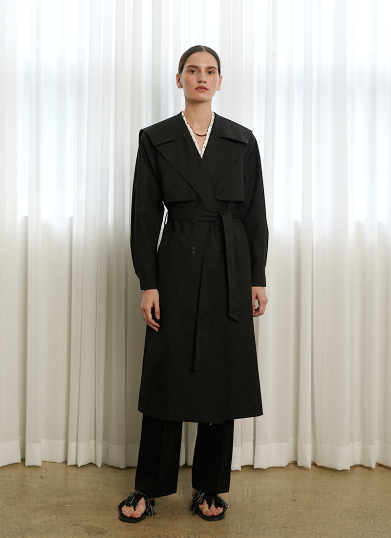 MARINE TRENCH COAT - BK