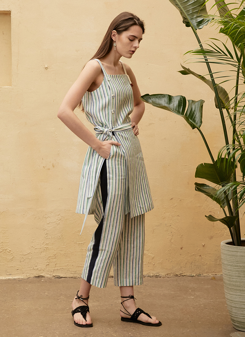 STRIPE LINEN PANTS - BL