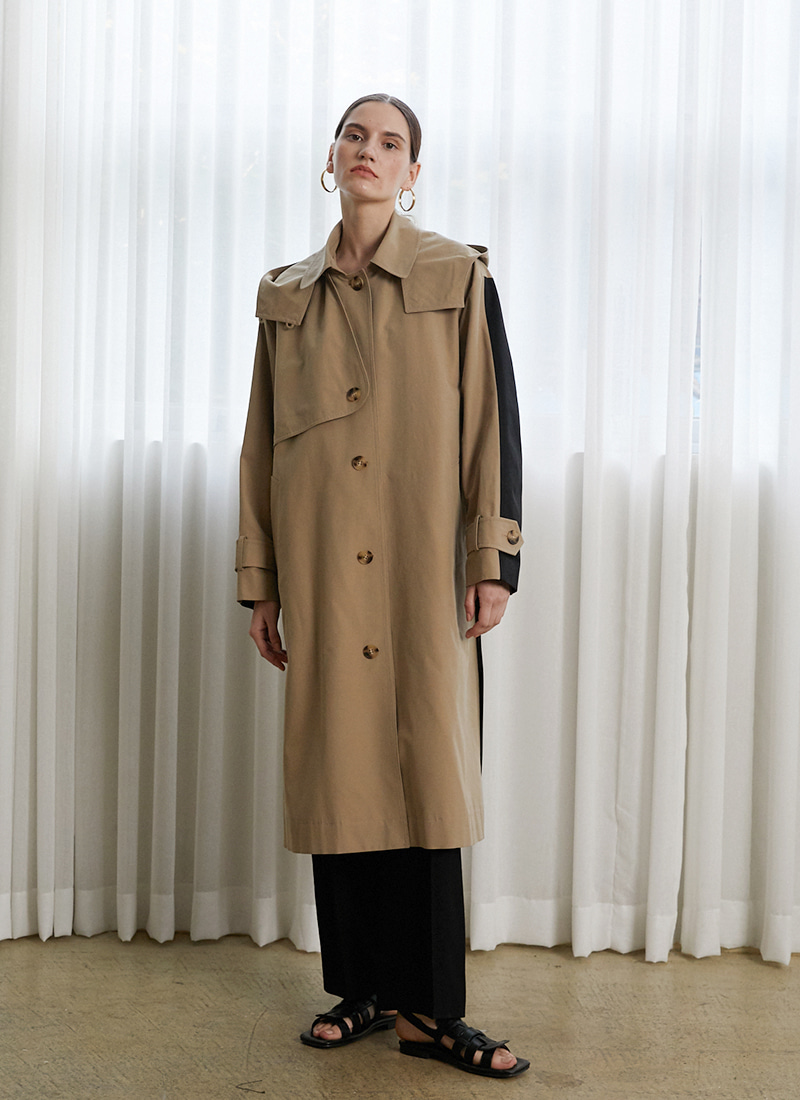COLOR COMBINATION TRENCH COAT - BG