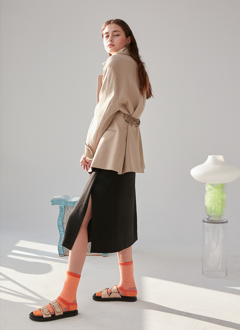 BELT POINT OVERSIZED JACKET - BEIGE