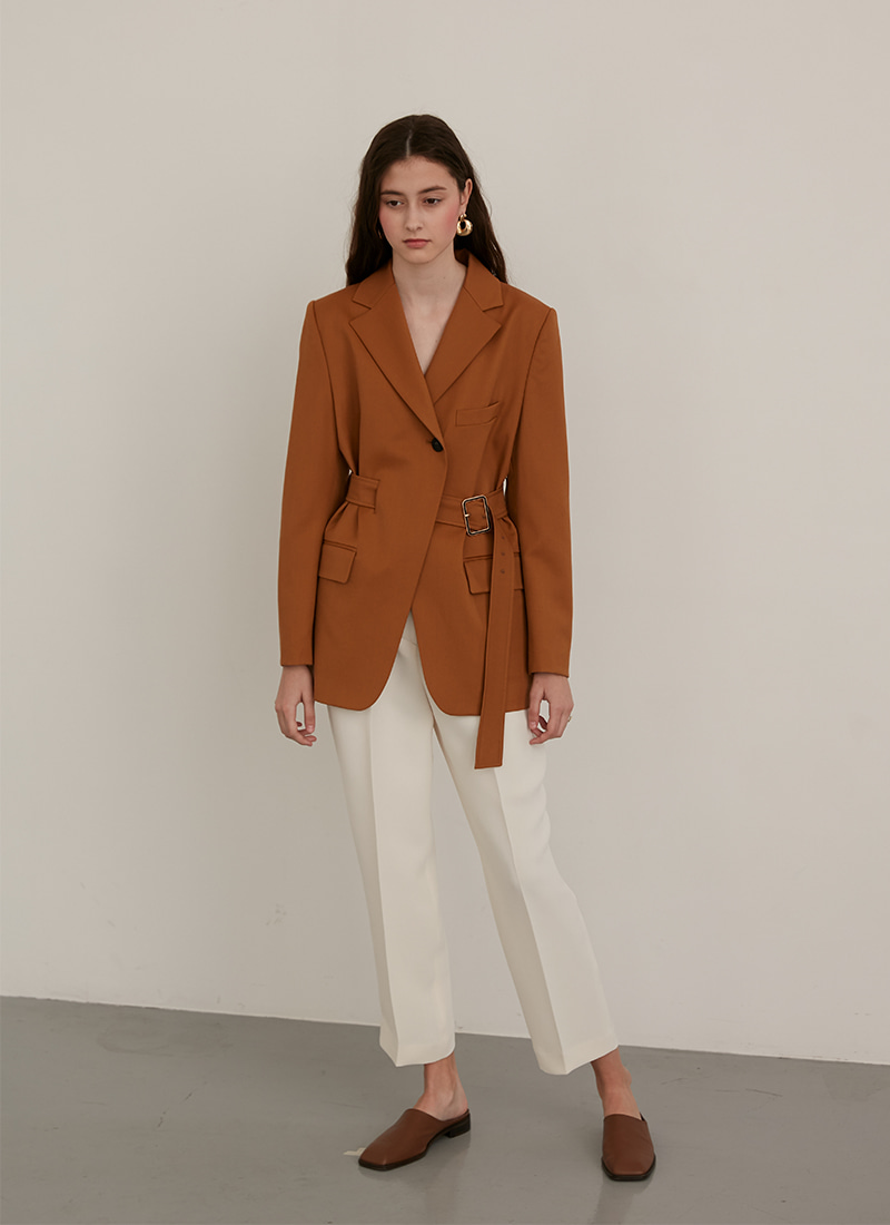 WAIST BELT POINTED JACKET - CAMEL