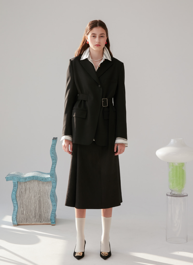 WAIST BELT POINTED JACKET - BLACK