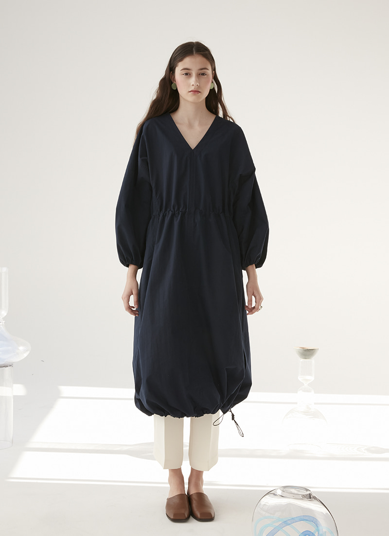 PUFF SLEEVE STRING DRESS - NAVY