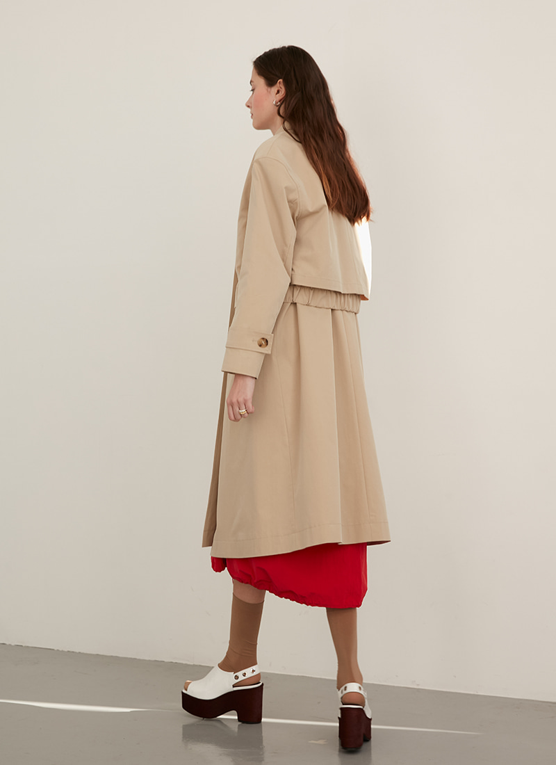 3WAY BANDING POINTED TRENCH COAT - BEIGE
