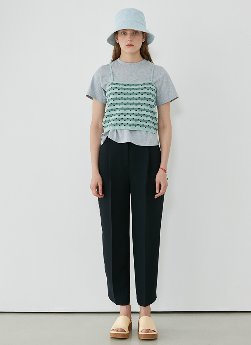 SLEEVELESS STRIPE KNIT - MINT