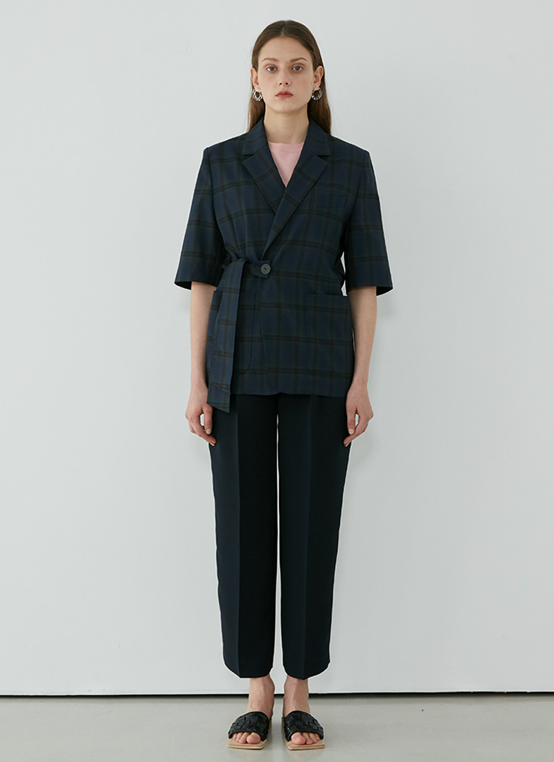 BELTED SHORTSLEEVE CHECK JACKET - NAVY