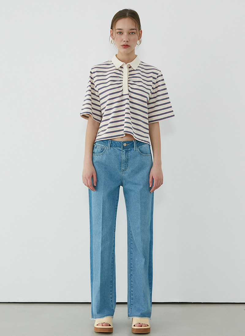 COMBI DENIM PANTS - SKY BLUE
