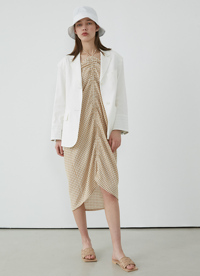 STRIPE POINTED LINEN JACKET - WHITE