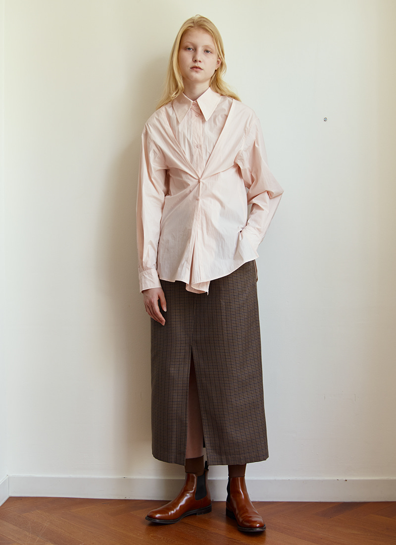 BUTTON POINT STANDARD SHIRT - PEACH