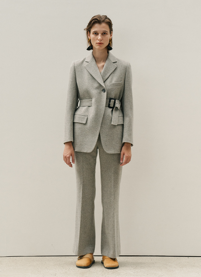 WAIST BELT POINTED JACKET - GREY