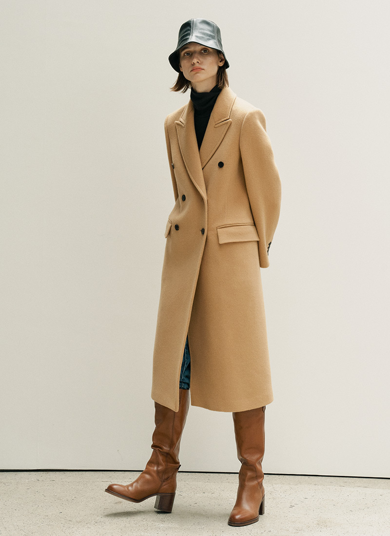 BASIC DOUBLE COAT - CAMEL