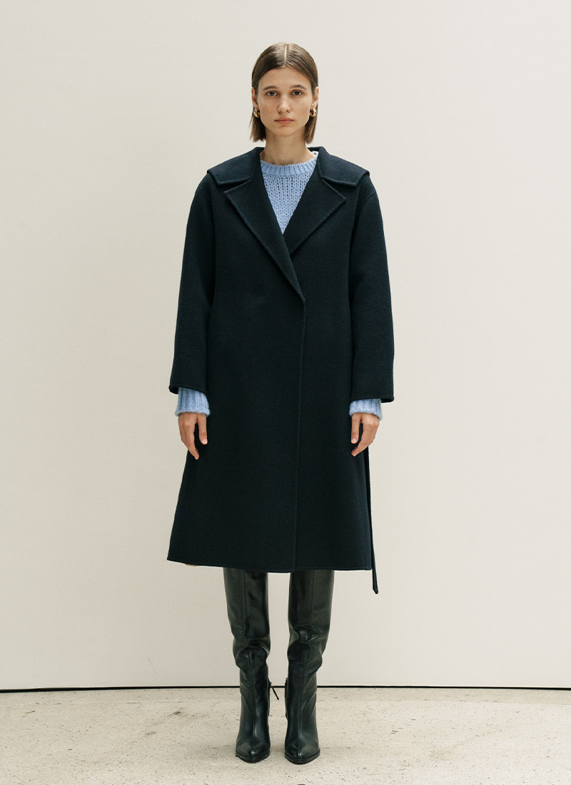 HANDMADE MARINE WOOL COAT - NAVY