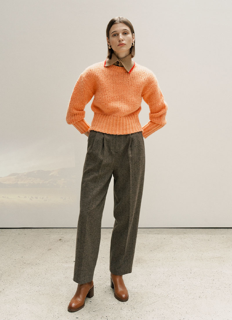 (12/4 예약배송)WOOL BLEND TUCK PANTS - BROWN