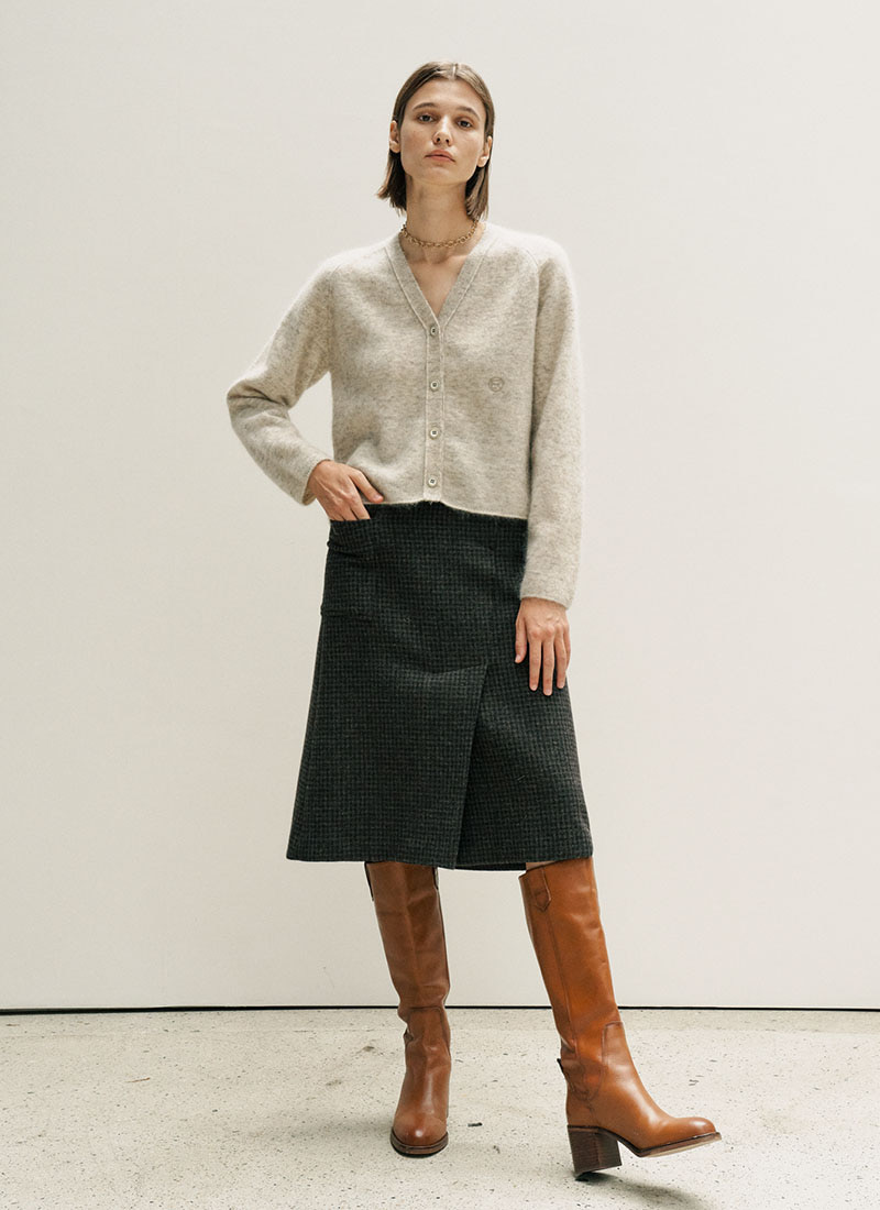 (12/4 예약배송)UNBALANCE TUCK WOOL SKIRT - BROWN