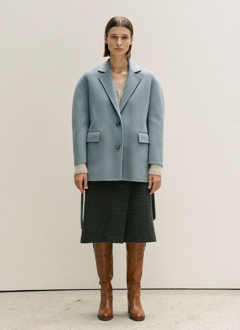 HANDMADE BELTED WOOL JACKET - BLUE