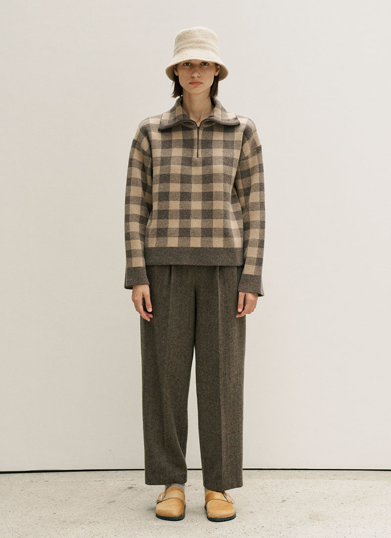 HALF ZIPUP WOOL KNIT - BROWN