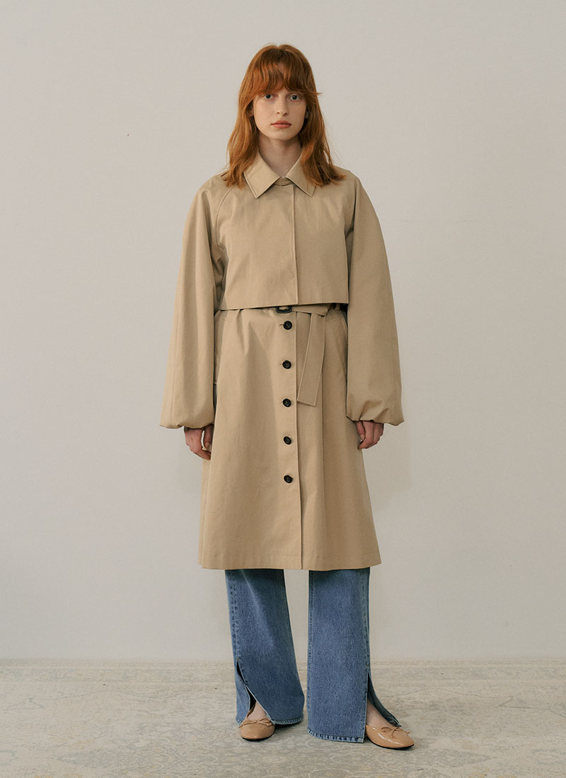 PUFF SLEEVE TRENCH COAT - BEIGE