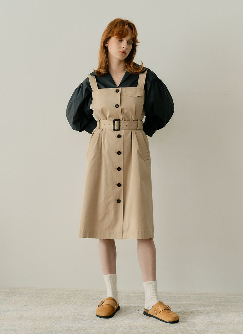 SLEEVELESS TRENCH DRESS - BEIGE