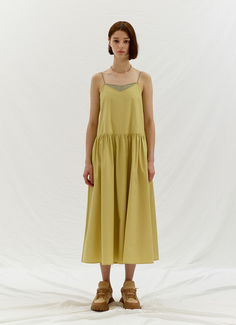 LAYERED SLIP DRESS - YELLOW