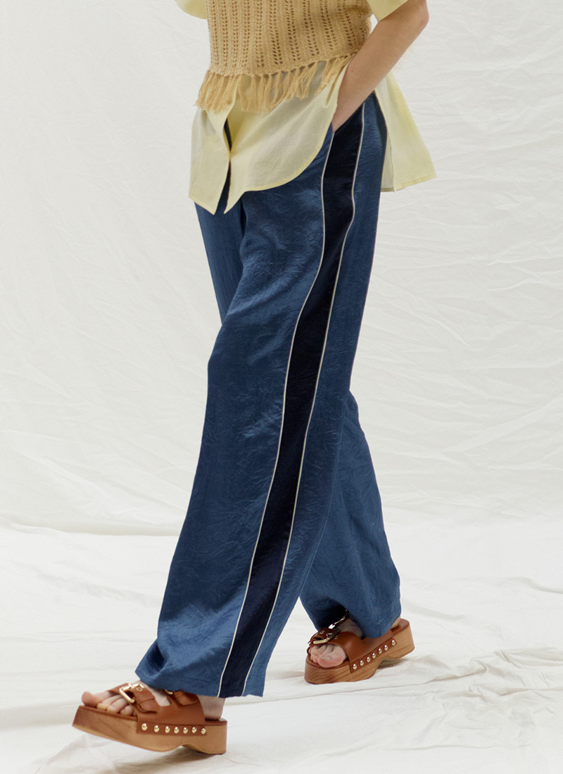 SIDE POINT BANDING PANTS - BLUE