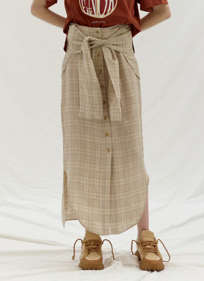 TIE UP POINT LINEN SKIRT - BEIGE